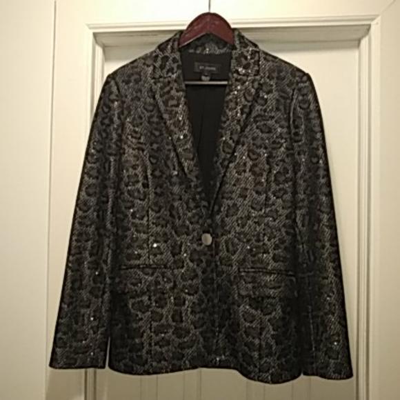 St. John black and silver blazer size 8
